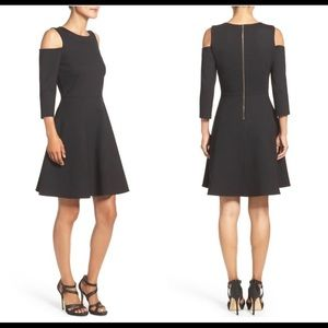 Eliza J Black Cold Shoulder Dress